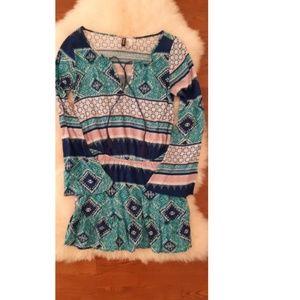 Blue patterned summer dress